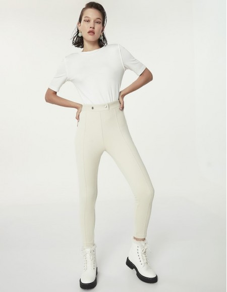 Beige Button Accessories Trousers