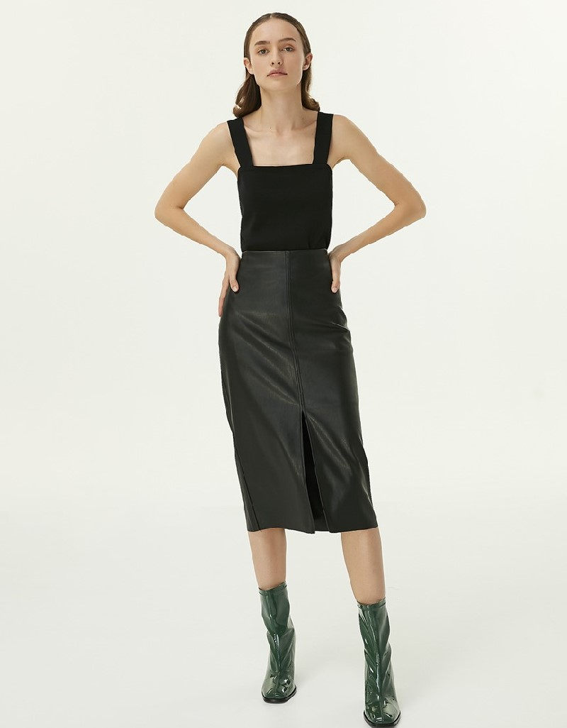 Black Leather Form Pencil Skirt
