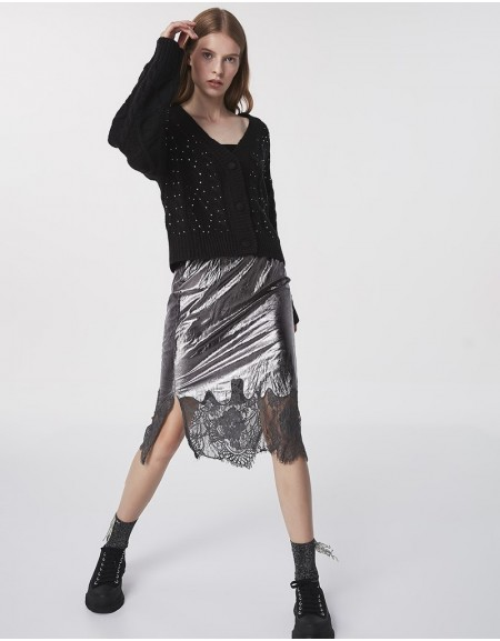Silver Lace-Mix Midi Skirt