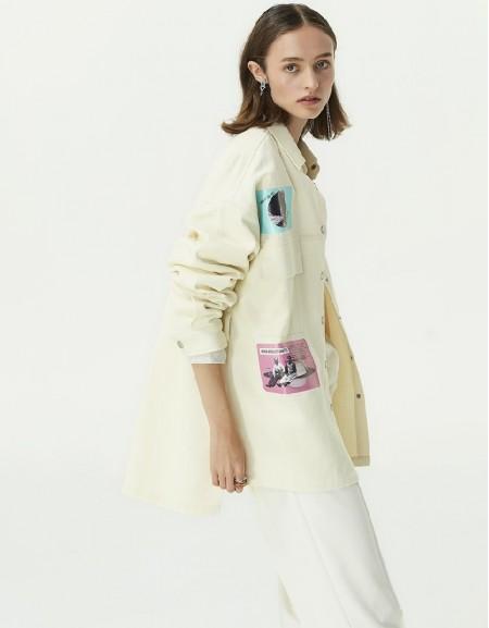 Beige Slogan Print Jacket