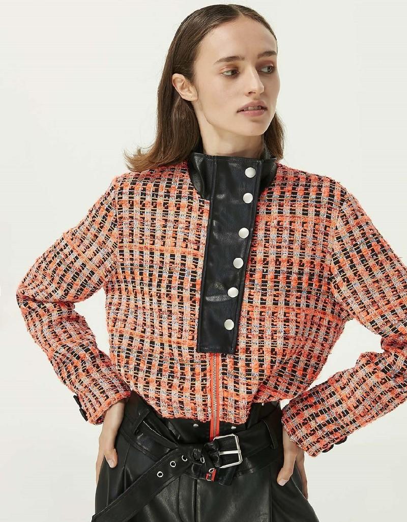 Orange Leather Mix Tweed Jacket