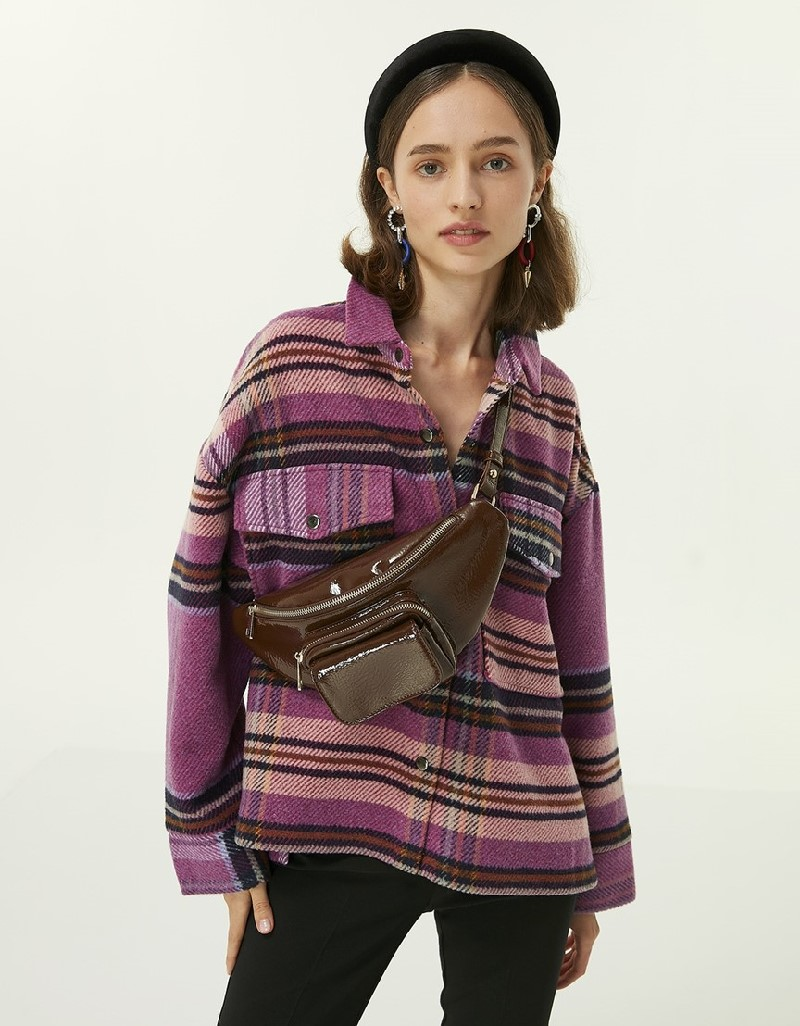 Purple Plaid Pattern Shirt