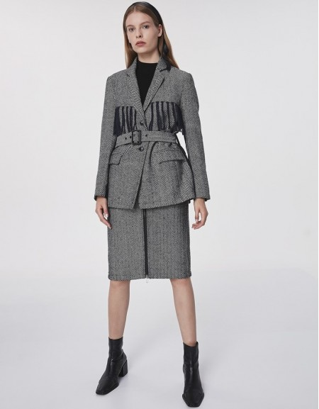 Anthracite Tassel Detail Belt Jacket