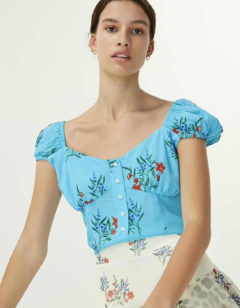 Blue Floral Pattern Blouse
