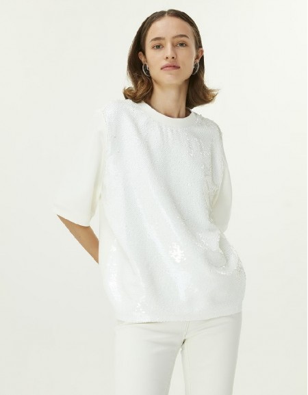 White Sequin Embroidery Blouse