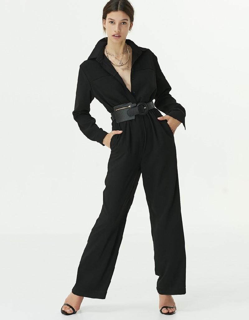 Black Shirt Collar Jumpsuit