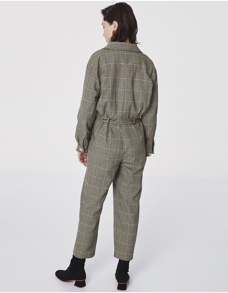Black Plaid Pattern Jumpsuit
