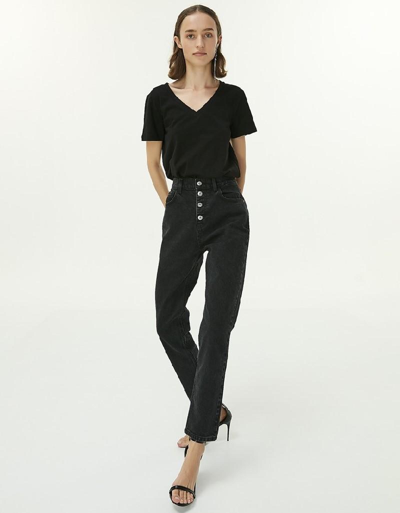 Black Button Closure Trousers