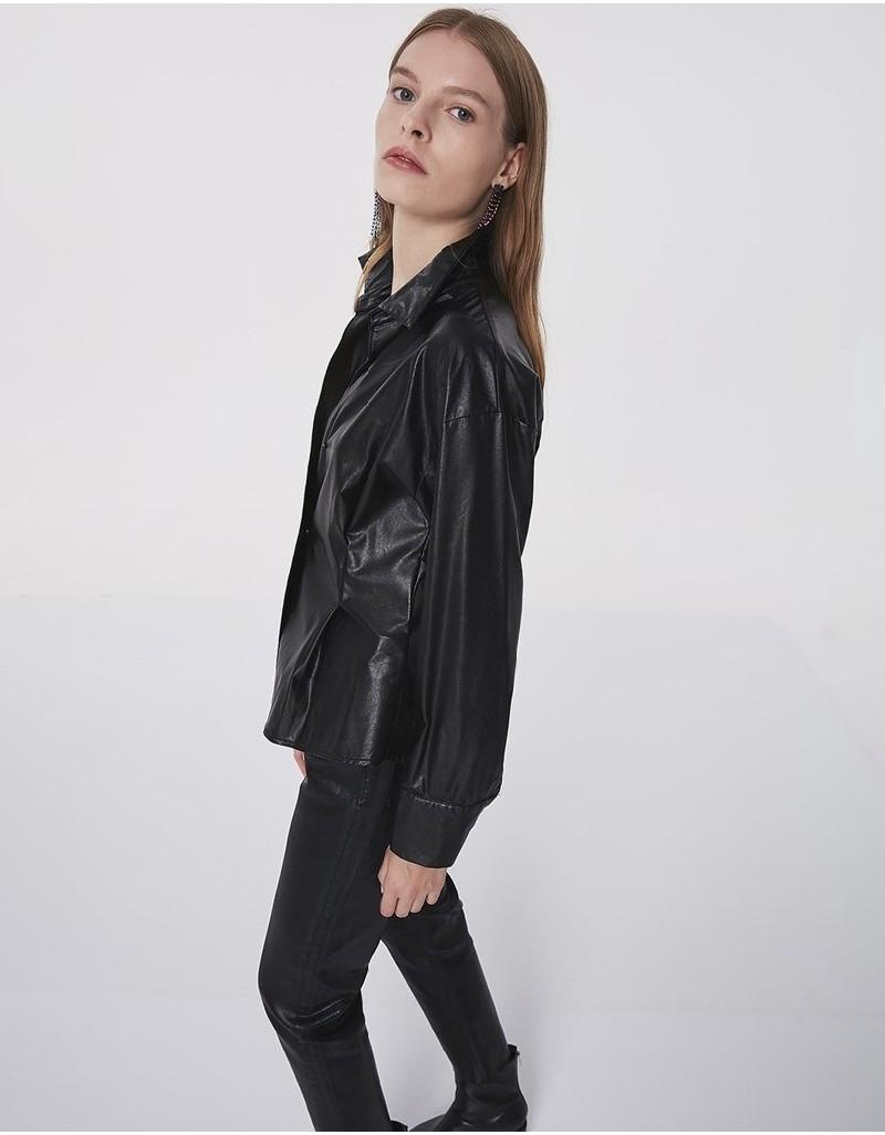 Black Faux Leather Shirt