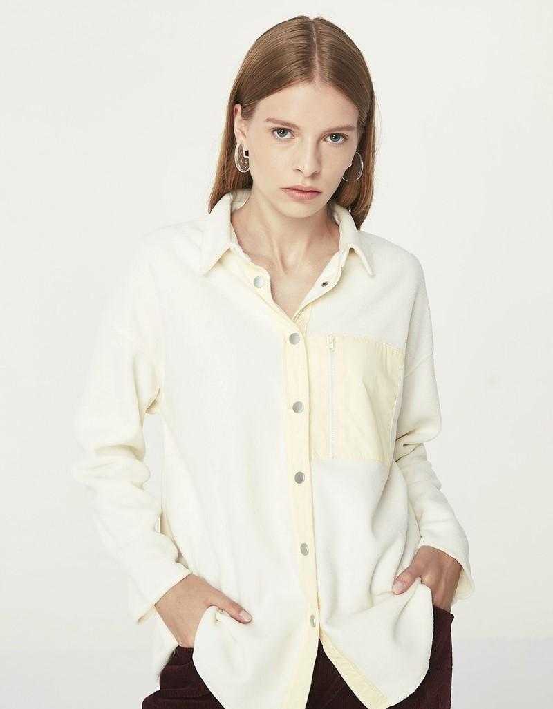 Beige Fabric Mix Shirt