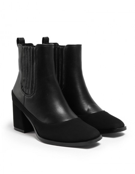 Black Suede Mix Boot