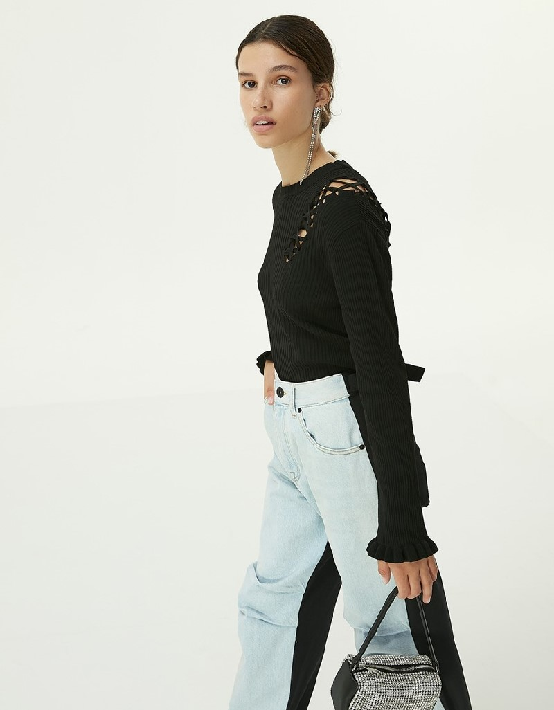 Black Lace-Up Sweater