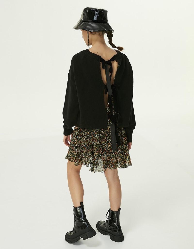Black Back Detailed Sweater