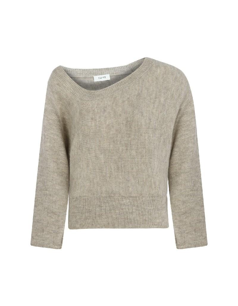 Beige Neck Detailed Sweater
