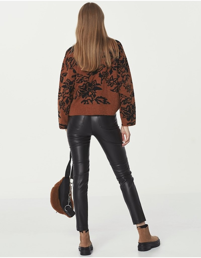 Brown Floral Knitted Sweater