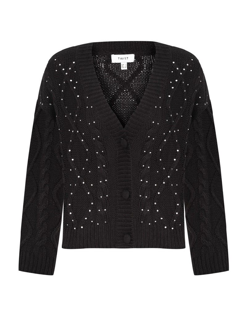 Black Stone Embroidered Knitted Cardigan