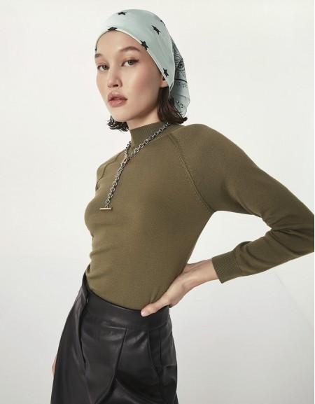 Khaki Turtleneck Sweater