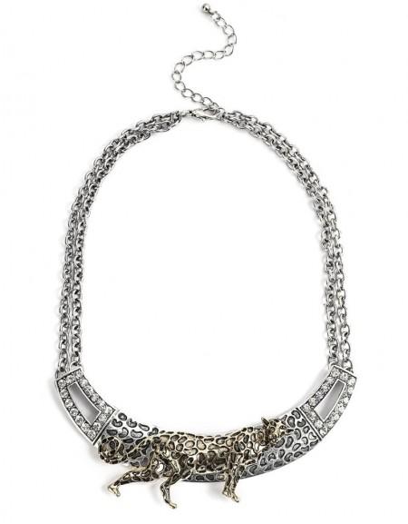 Silver Necklace With Leopard Figure Pendant