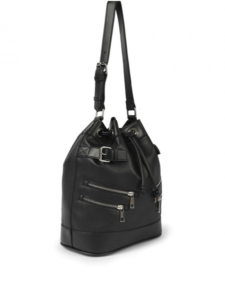 Black Zipper Striped Sleeve Bag