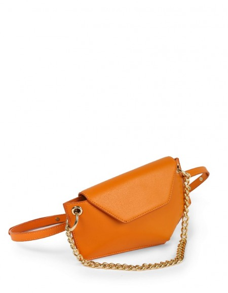 Orange Bag With Chain Accessories