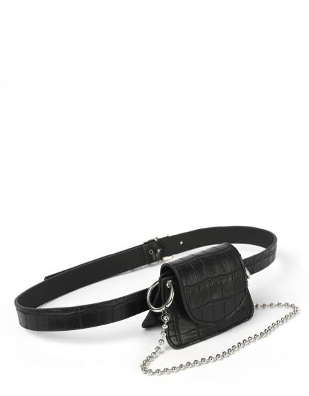 Black Croco Pattern Belt Bag