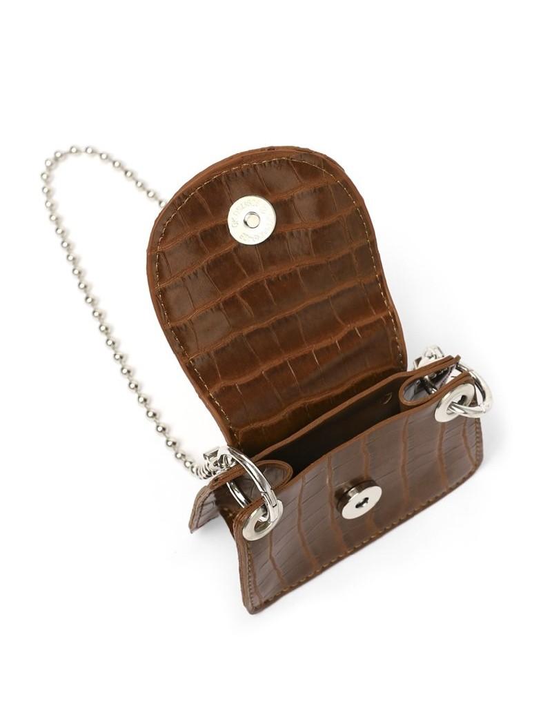 Brown Croco Pattern Belt Bag