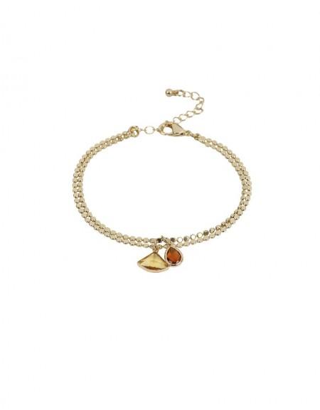 Golden Stone Pendant Chain Bracelet