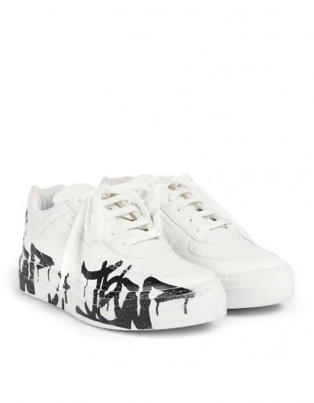 White Graffiti Pattern Sneaker