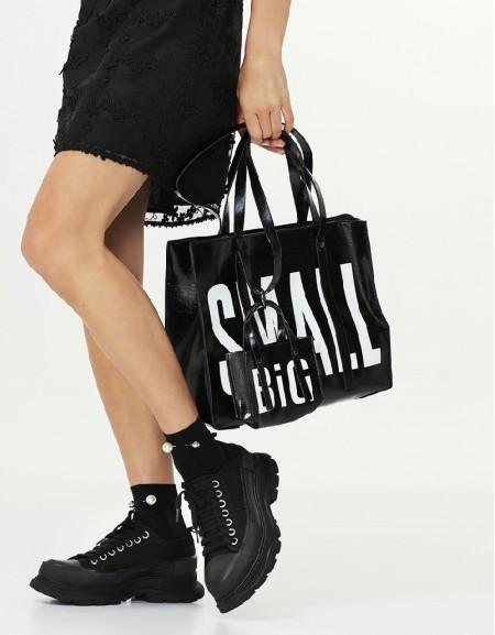 Black High Sole Canvas Shoes
