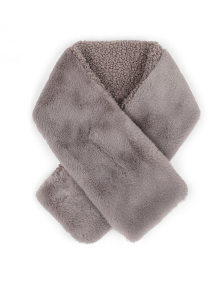 Gray Wool-Textured Scarf