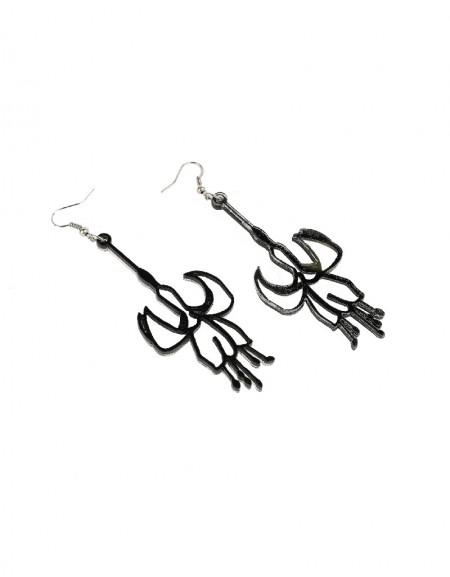 Black Flower Form Earrings