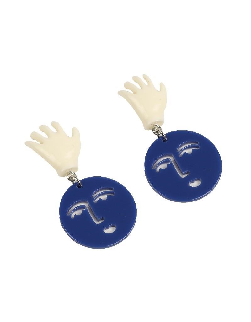 Blue Hand-Face Figure Earrings
