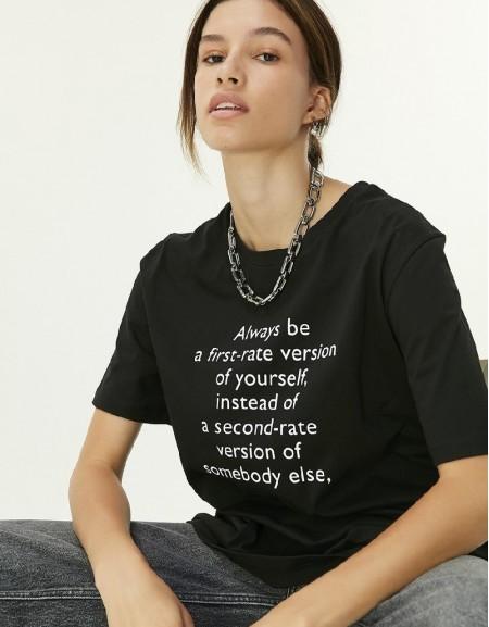 Black Slogan Print T-Shirt