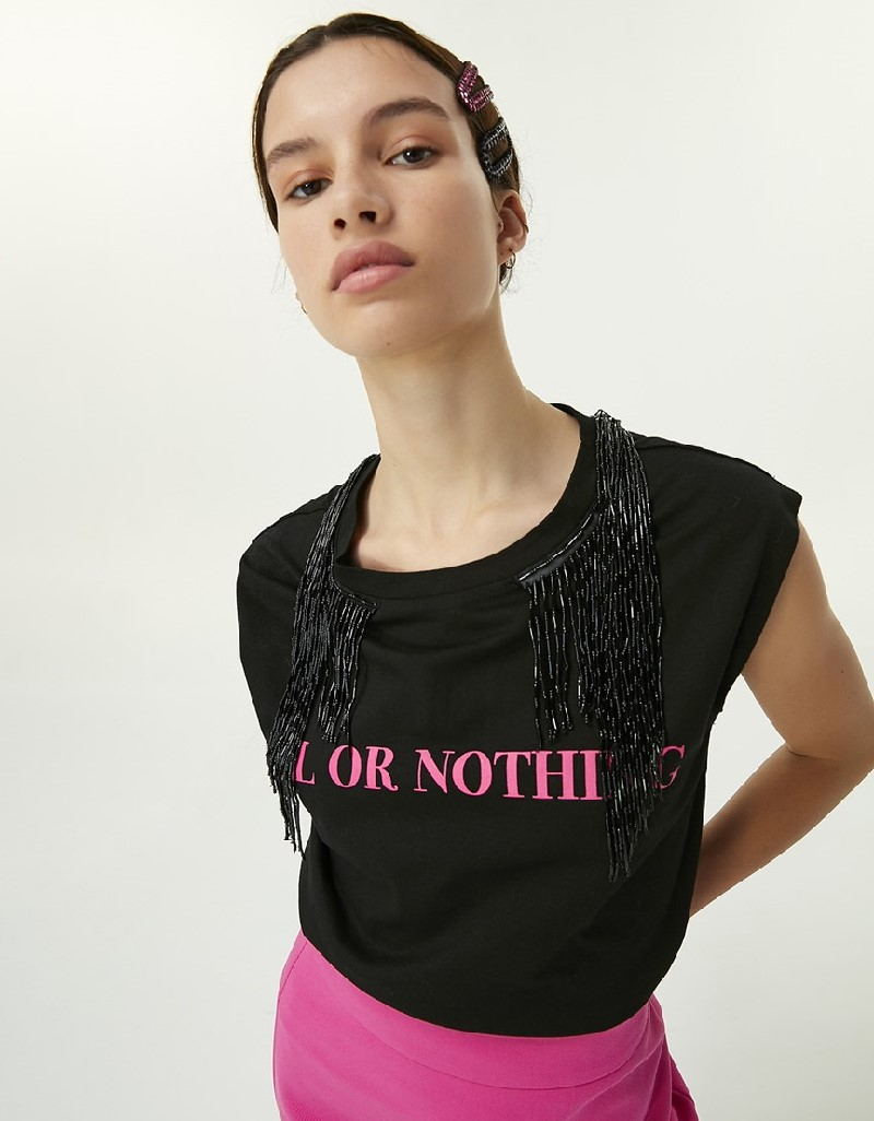 Black Bead Tassel T-Shirt