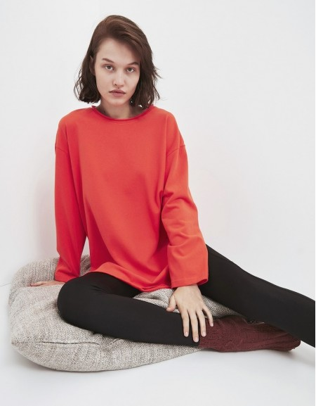 Orange Basic Sweatshirt