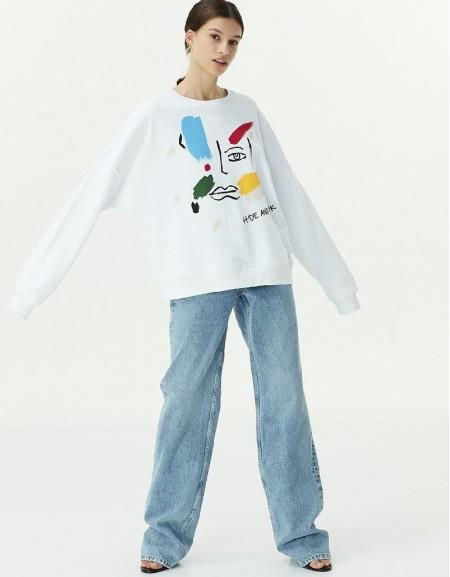 White Visual print sweatshirt
