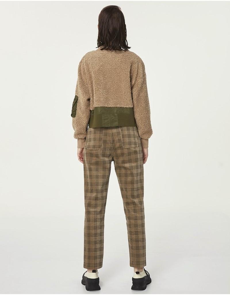 Beige Fabric Mix Sweatshirt