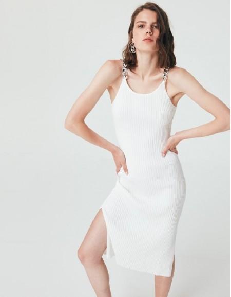 White Chain Accessory Knitwear Dress
