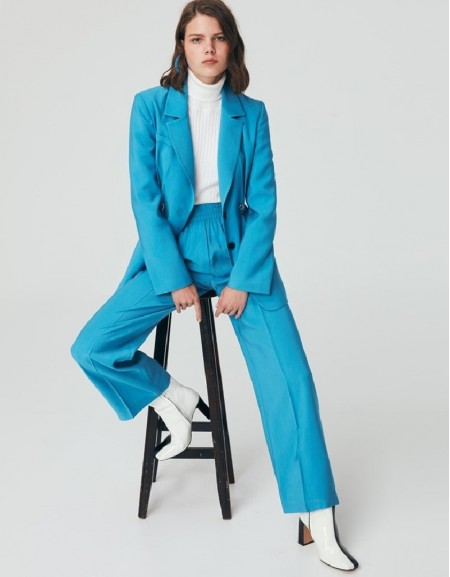 Blue Casual Fit Trousers