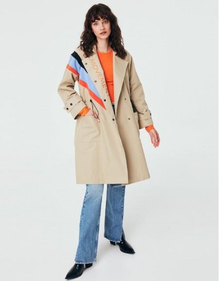 Brown Colorblock Trench Coat