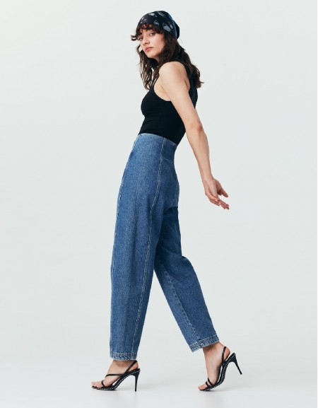 Blue Baloon Shape Fit Jeans
