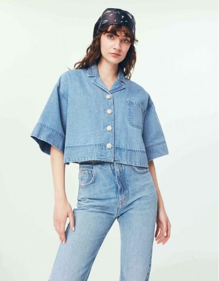 Blue Button Accessory Shirt