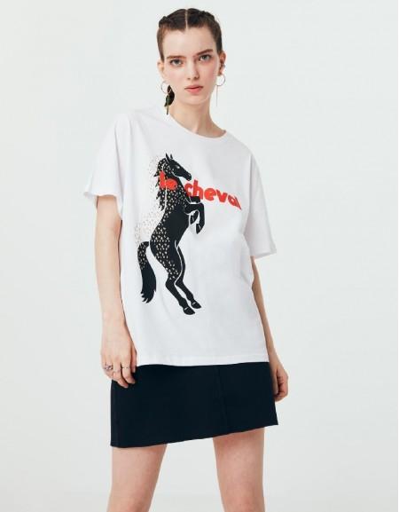 White Visual Printed T-Shirt