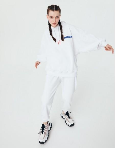 White Motto Printed Sweatshirt